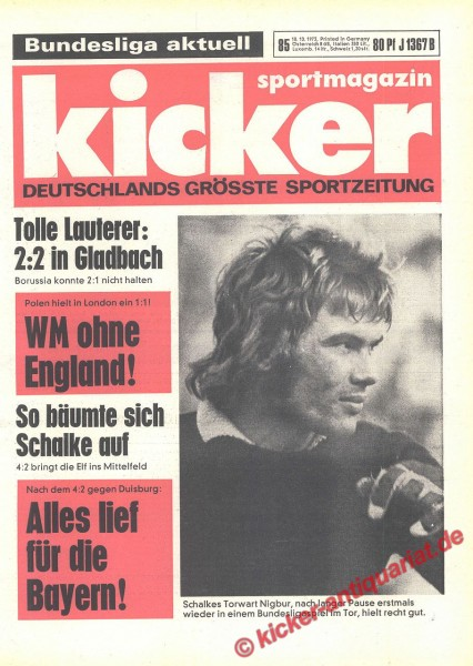 Kicker Sportmagazin Nr. 85, 18.10.1973 bis 24.10.1973