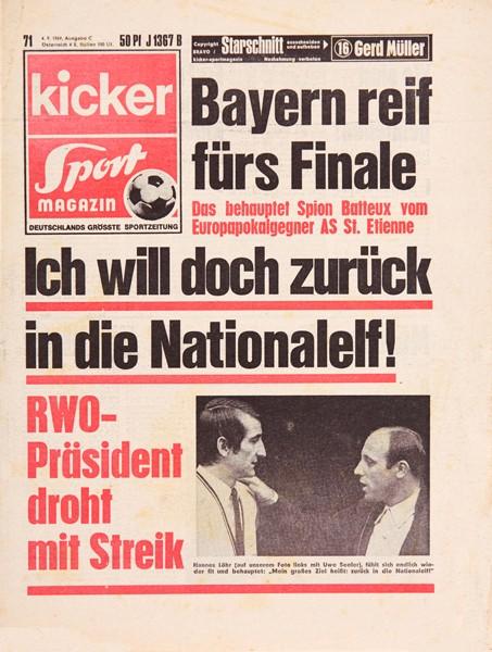 Kicker Sportmagazin Nr. 71, 4.9.1969 bis 10.9.1969