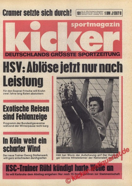 Kicker Sportmagazin Nr. 101, 18.12.1975 bis 24.12.1975