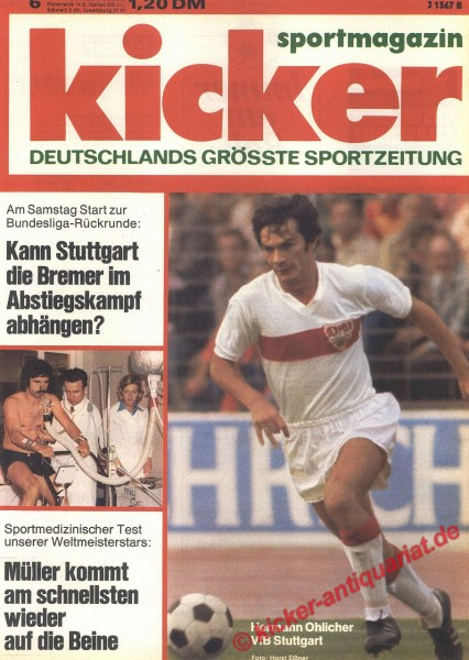 Kicker Sportmagazin Nr. 6, 20.1.1975 bis 26.1.1975