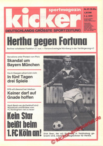 Kicker Sportmagazin Nr. 47, 7.6.1979 bis 13.6.1979