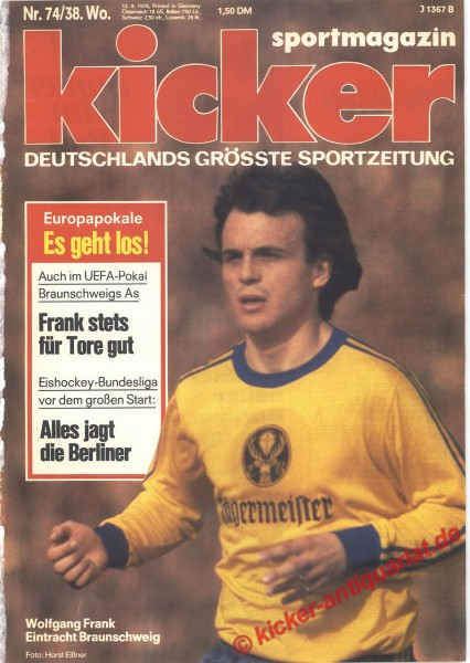 Kicker Sportmagazin Nr. 74, 13.9.1976 bis 19.9.1976