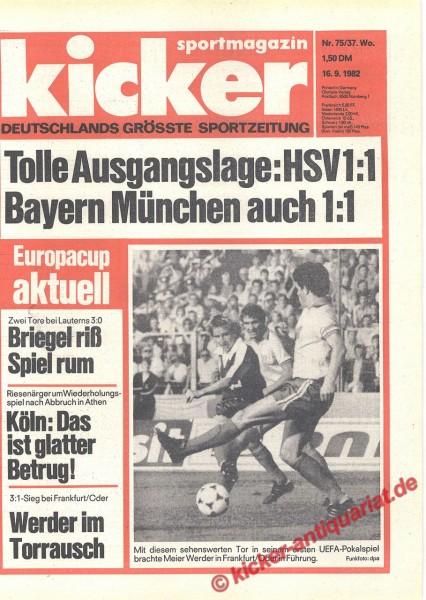 Kicker Sportmagazin Nr. 75, 16.9.1982 bis 22.9.1982