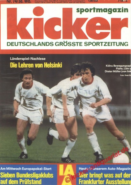 Kicker Sportmagazin Nr. 74, 12.9.1977 bis 18.9.1977