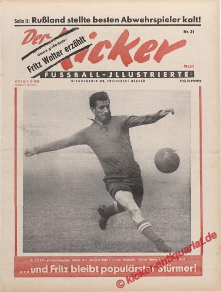 Kicker Nr. 31, 1.8.1955 bis 7.8.1955