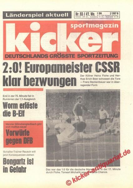 Kicker Sportmagazin Nr. 93, 18.11.1976 bis 24.11.1976