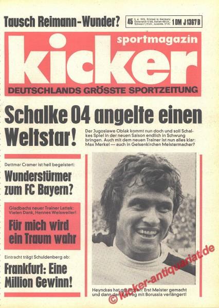 Kicker Sportmagazin Nr. 45, 5.6.1975 bis 11.6.1975