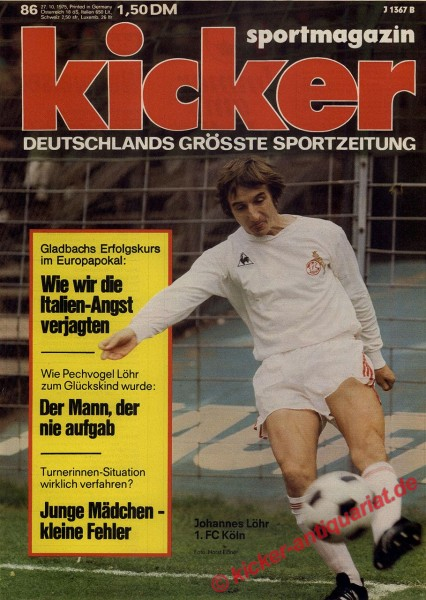 Kicker Sportmagazin Nr. 86, 27.10.1975 bis 2.11.1975