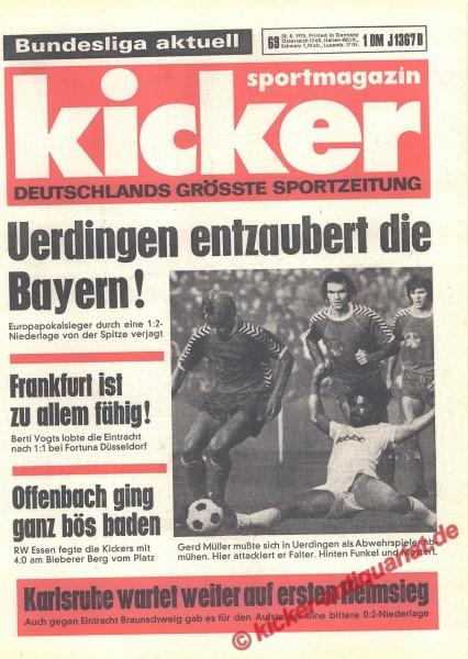 Kicker Sportmagazin Nr. 69, 28.8.1975 bis 3.9.1975