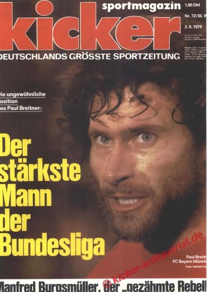 Kicker Sportmagazin Nr. 72, 3.9.1979 bis 9.9.1979