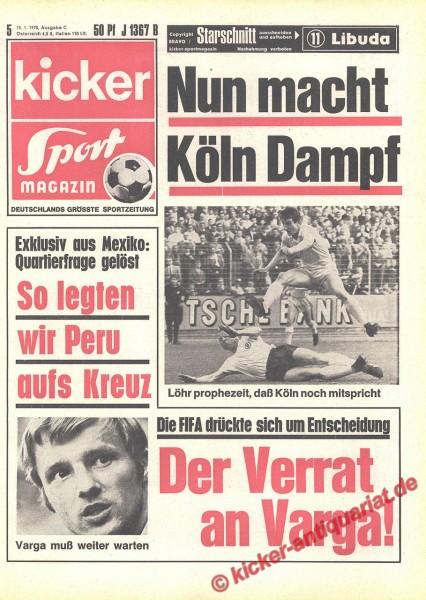 Kicker Sportmagazin Nr. 5, 15.1.1970 bis 21.1.1970