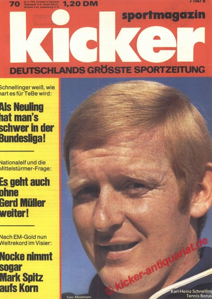 Kicker Sportmagazin Nr. 70, 26.8.1974 bis 1.9.1974
