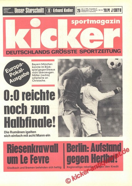 Kicker Sportmagazin Nr. 25, 23.3.1972 bis 29.3.1972