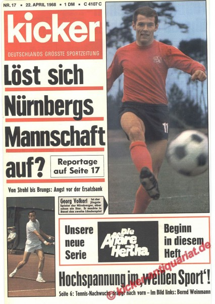 Kicker Sportmagazin Nr. 17, 22.4.1968 bis 28.4.1968