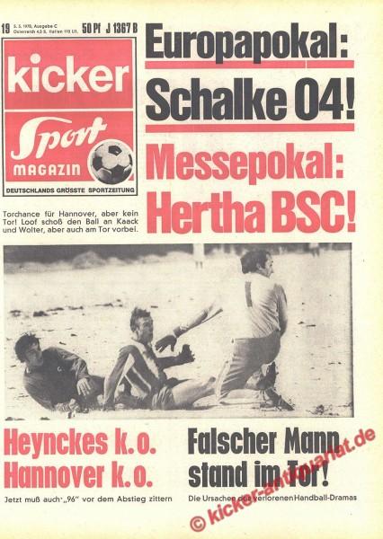 Kicker Sportmagazin Nr. 19, 5.3.1970 bis 11.3.1970