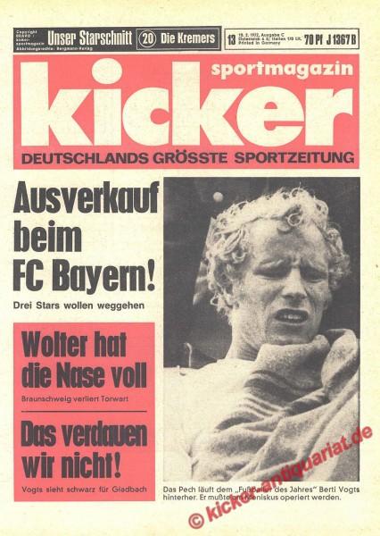 Kicker Sportmagazin Nr. 13, 10.2.1972 bis 16.2.1972