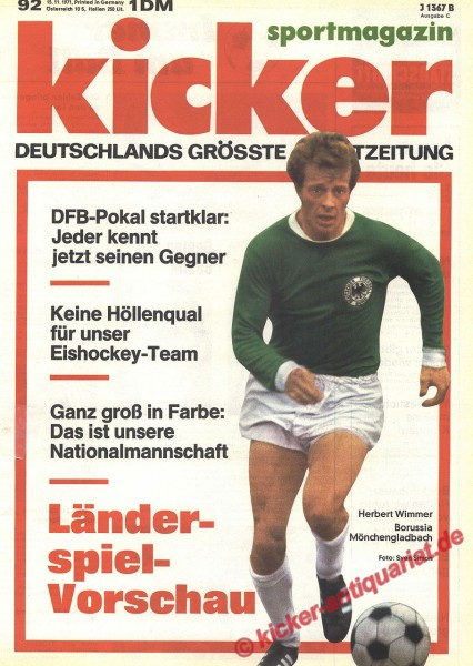 Kicker Sportmagazin Nr. 92, 15.11.1971 bis 21.11.1971