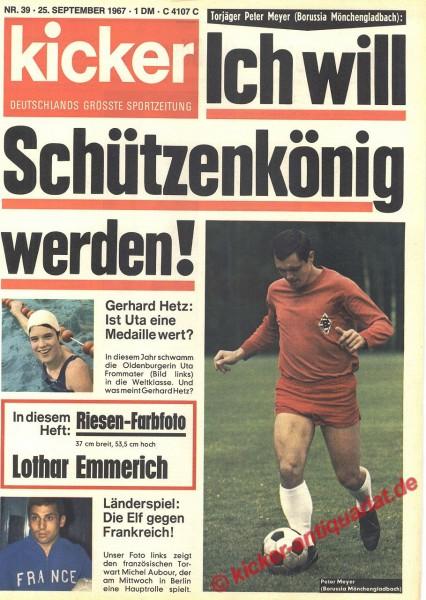 Kicker Sportmagazin Nr. 39, 25.9.1967 bis 1.10.1967