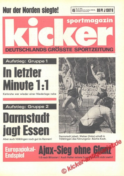 Kicker Sportmagazin Nr. 45, 31.5.1973 bis 6.6.1973
