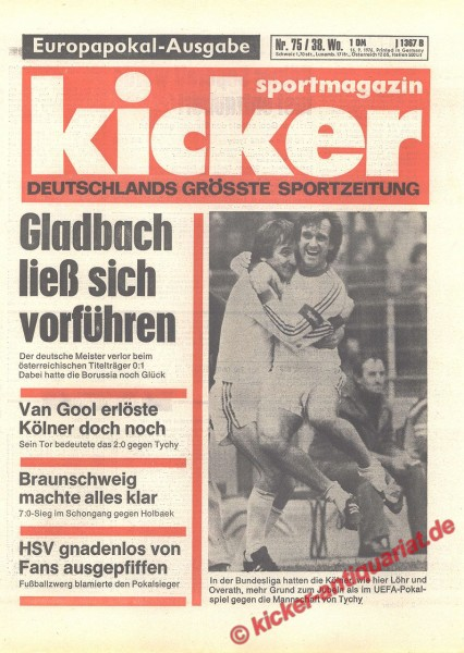 Kicker Sportmagazin Nr. 75, 16.9.1976 bis 22.9.1976