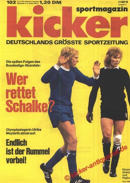 Kicker Sportmagazin Nr. 102, 18.12.1972 bis 24.12.1972
