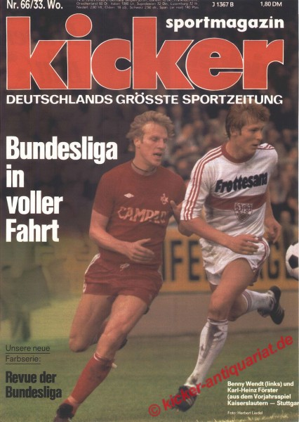 Kicker Sportmagazin Nr. 66, 14.8.1978 bis 20.8.1978