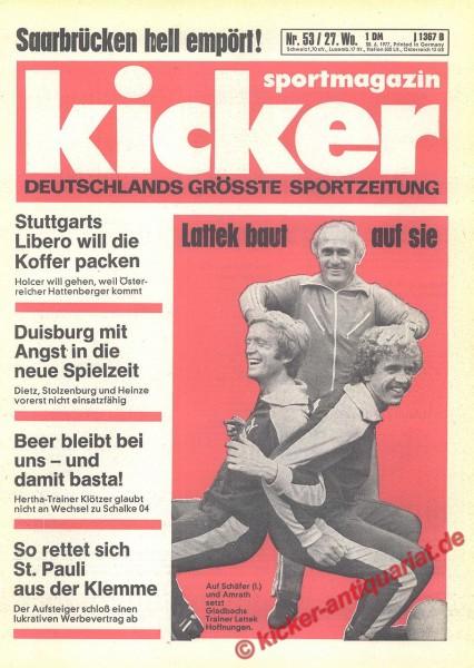 Kicker Sportmagazin Nr. 53, 30.6.1977 bis 6.7.1977