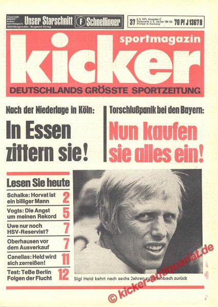 Kicker Sportmagazin Nr. 37, 6.5.1971 bis 12.5.1971