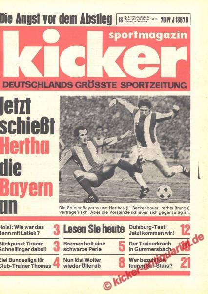 Kicker Sportmagazin Nr. 13, 11.2.1971 bis 17.2.1971