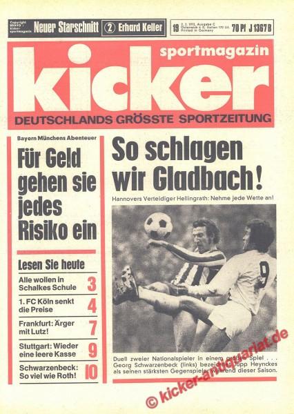 Kicker Sportmagazin Nr. 19, 2.3.1972 bis 8.3.1972
