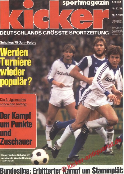 Kicker Sportmagazin Nr. 62, 30.7.1979 bis 5.8.1979