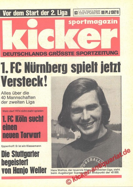 Kicker Sportmagazin Nr. 63, 1.8.1974 bis 7.8.1974