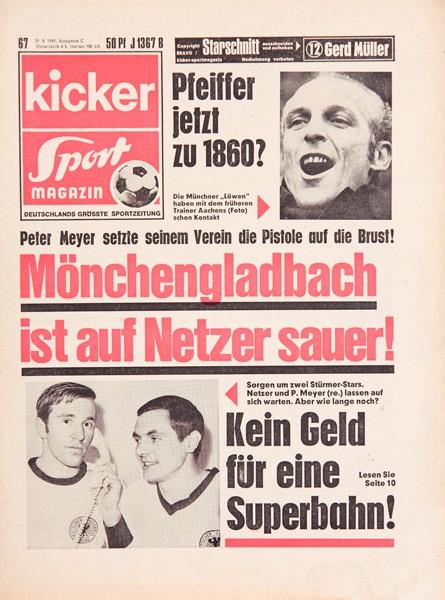 Kicker Sportmagazin Nr. 67, 21.8.1969 bis 27.8.1969