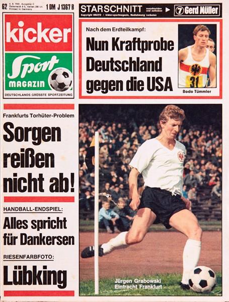 Kicker Sportmagazin Nr. 62, 3.8.1969 bis 9.8.1969