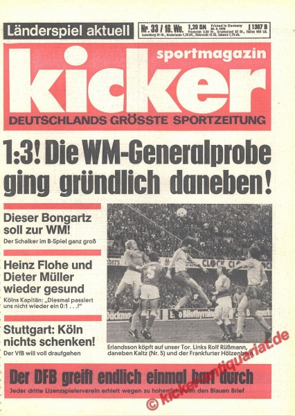 Kicker Sportmagazin Nr. 33, 20.4.1978 bis 26.4.1978