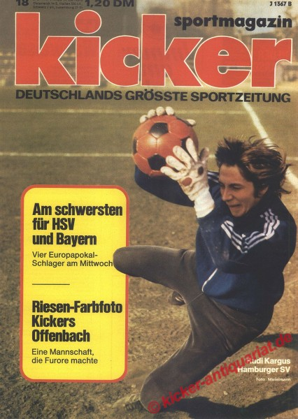 Kicker Sportmagazin Nr. 18, 3.3.1975 bis 9.3.1975