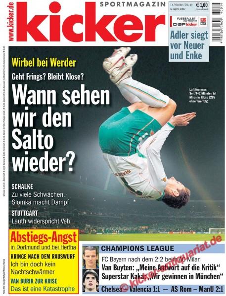 Kicker Sportmagazin Nr. 29, 5.4.2007 bis 11.4.2007