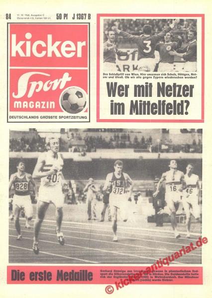 Kicker Sportmagazin Nr. 84, 17.10.1968 bis 23.10.1968
