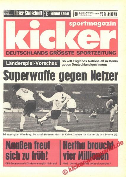 Kicker Sportmagazin Nr. 39, 10.5.1972 bis 16.5.1972