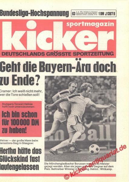 Kicker Sportmagazin Nr. 63, 7.8.1975 bis 13.8.1975