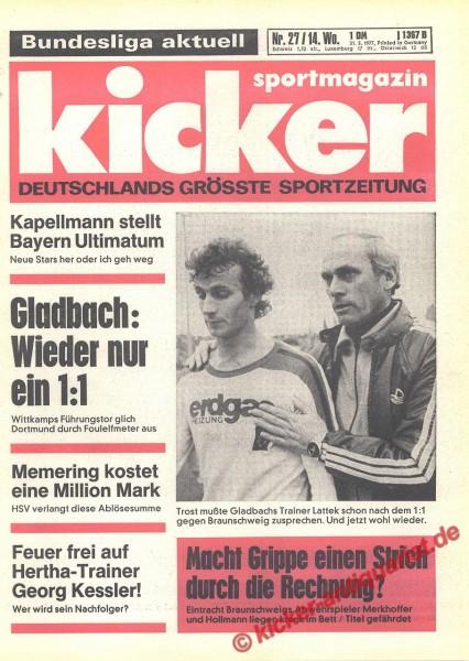 Kicker Sportmagazin Nr. 27, 31.3.1977 bis 6.4.1977