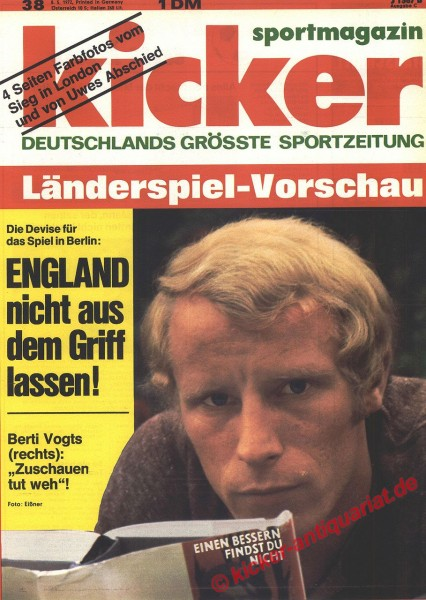Kicker Sportmagazin Nr. 38, 8.5.1972 bis 14.5.1972