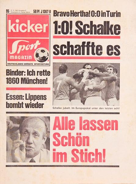 Kicker Sportmagazin Nr. 95, 27.11.1969 bis 3.12.1969
