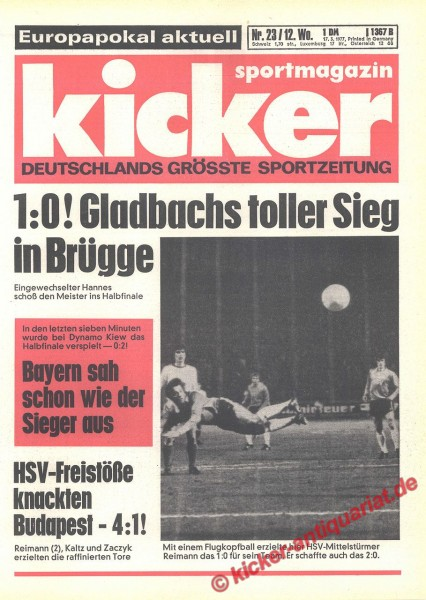 Kicker Sportmagazin Nr. 23, 17.3.1977 bis 23.3.1977