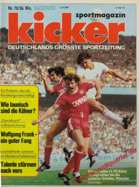 Kicker Sportmagazin Nr. 70, 30.8.1976 bis 5.9.1976