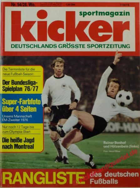 Kicker Sportmagazin Nr. 54, 5.7.1976 bis 11.7.1976