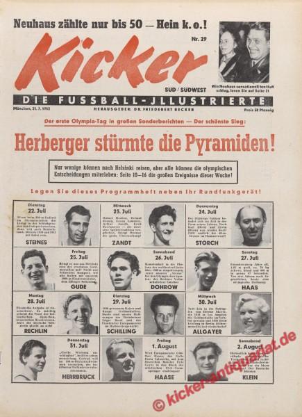 Kicker Nr. 29, 21.7.1952 bis 27.7.1952