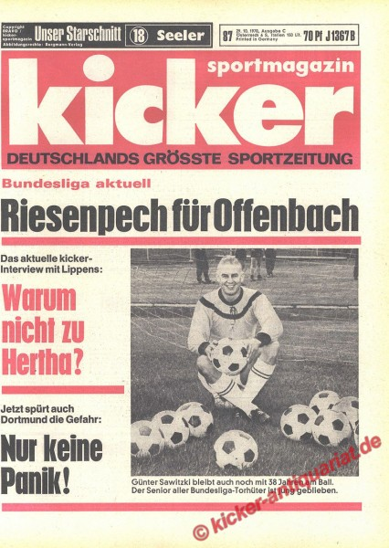 Kicker Sportmagazin Nr. 87, 29.10.1970 bis 4.11.1970