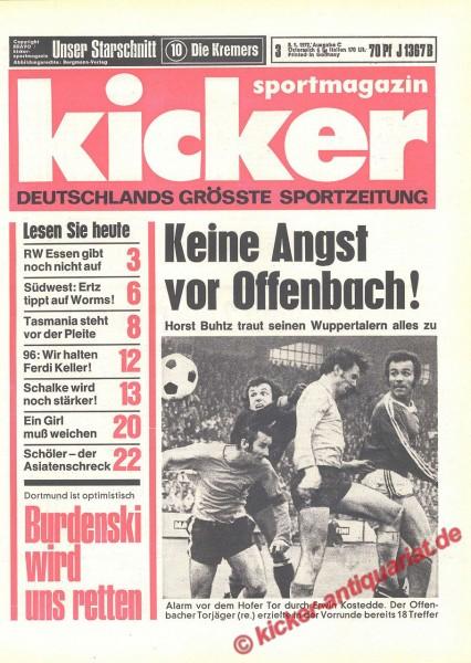 Kicker Sportmagazin Nr. 3, 5.1.1972 bis 11.1.1972
