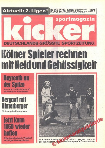 Kicker Sportmagazin Nr. 65, 10.8.1978 bis 16.8.1978